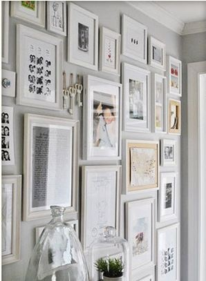 White frame collage on grey wall bedroom pinterest - White wall picture frames ...