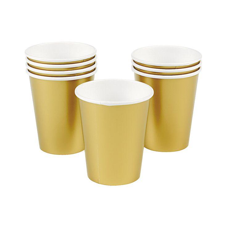Metallic Gold Party Cups - OrientalTrading.com