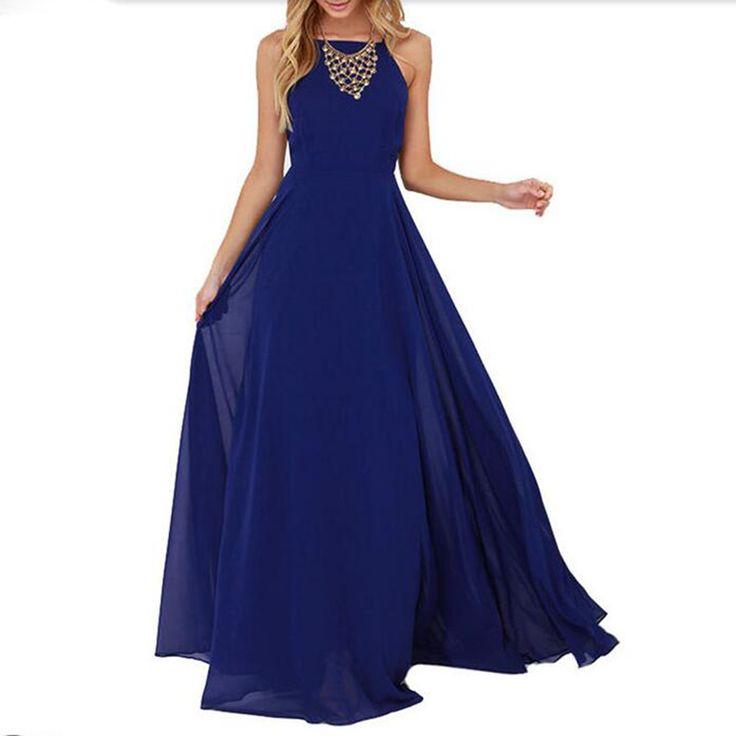 Dames d'été Style Vogue robes sans manches Criss Cross bleu courroie de Spaghetti retour Backless Maxi robe dans Robes de Accessoires et vêtements pour femmes sur AliExpress.com   Alibaba Group