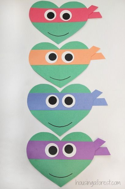 Valentines Day Ninja Turtle Craft for Kids ~ Heart Shaped Teenage Mutant Ninja Turtles: