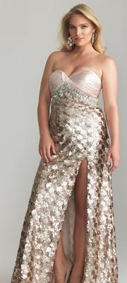 Light Gold Sequin & Satin Sweetheart Plus Size Prom Dress