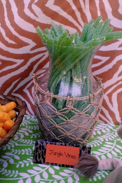 Licorice vines at a Lion King party!   See more party ideas at CatchMyParty.com!  #partyideas #jungle