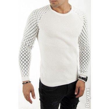 DEEPK1601018-001 Beyaz Erkek Kazak Kolları Baklava Desenli Çelik Örgü - 60.18 TL + KDV