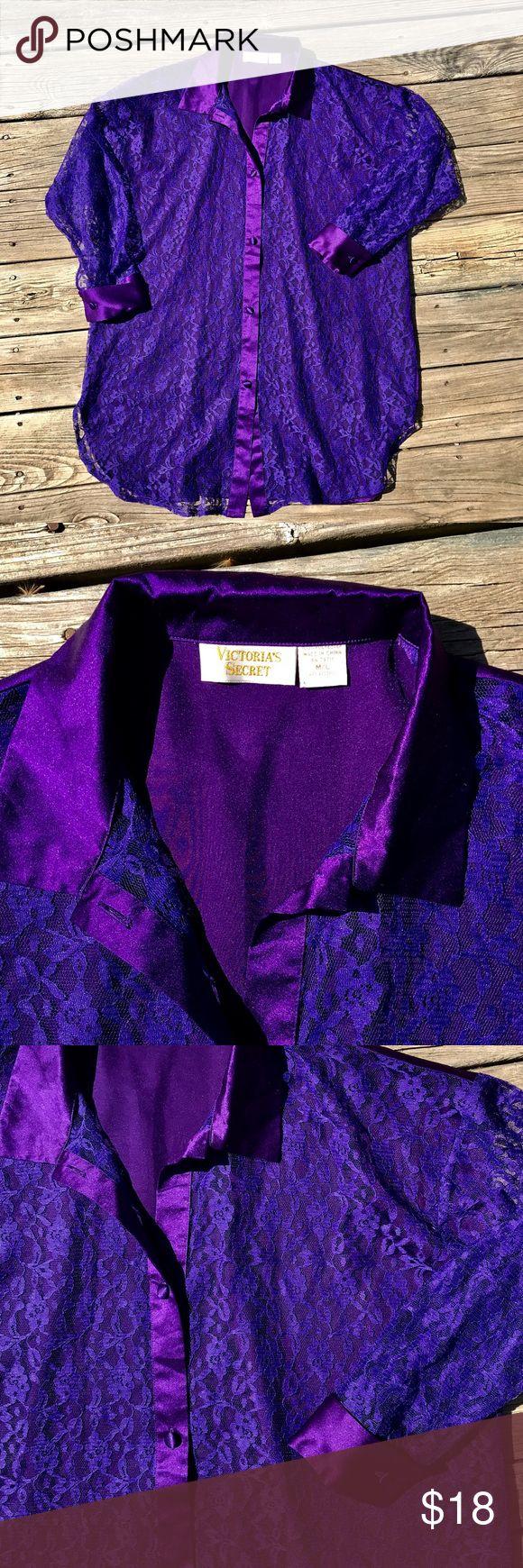 "VICTORIA'S SECRET M/L Purple Lace Sleep Shirt Like new purple lace and satin feel sleep shirt. Pit to pit measures 27"". Shoulders 25"". Sleeve Length 32"". Length 36"". 100% Polyester Machine Wash Cold Gentle Cycle. Victoria's Secret Intimates & Sleepwear Chemises & Slips"