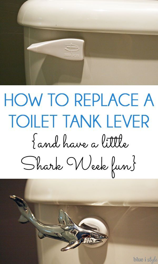 SIMPLE DIY! Easy step by step tutorial to replace a toilet tank lever. And if you are feeling adventurous, why not have a little fun picking the replacement lever... like a shiny chrome shark toilet lever for the shark lover?: