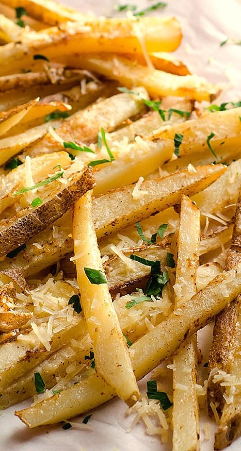 New Orleans Truck Fries are a healthier version, baked in the oven with olive oil, sprinkled with creole seasoning, parsley and freshly grated Parmesan.