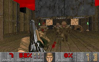 After game is loaded press space button to open menu. http://funnkidsgames.com/doom/