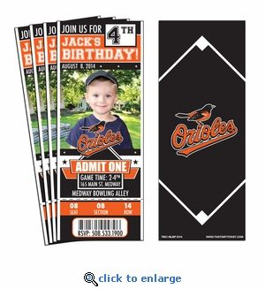 (12) Baltimore Orioles Birthday Party Ticket Invitations. Having a birthday party for a Orioles fan? How better to show that fan's love of the game than with a party invitation that looks like a ticket! Our invitations are created to look just like a ball park ticket but include all of the important information to get your guests to the party. Gotta great photo? We can add that too!  #orioles #2015alcs #oriolesparty #mlbinvitations @oriolesbaseball