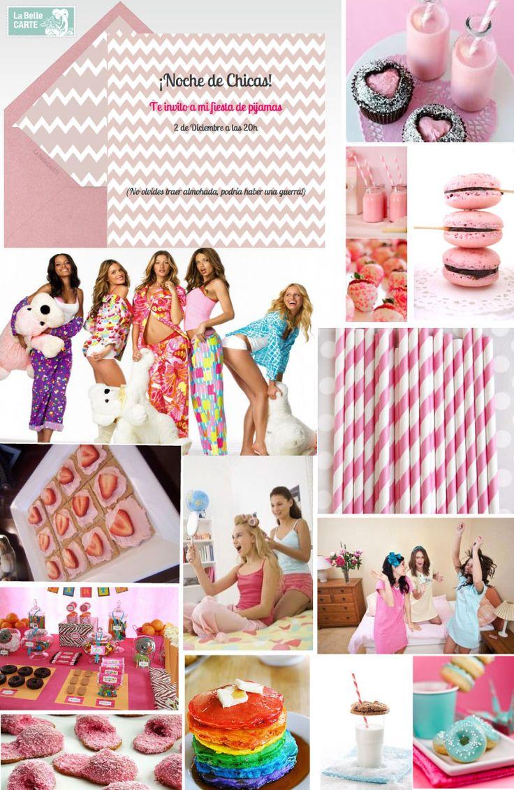 Invitaciones, fiesta de pijamas, cute, chicas, cupcakes, macarons, pijamadas, rosa, fresas