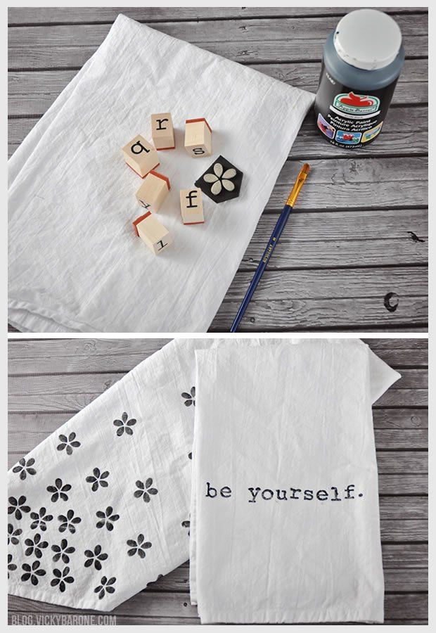 DIY Stamped Tea Towels Marissa La Brecque