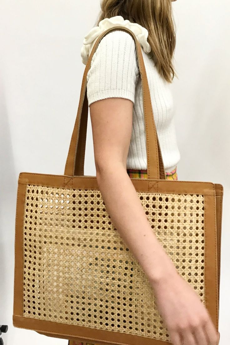 ST.AGNI Hennie Rattan Market Bag - Tan Leather