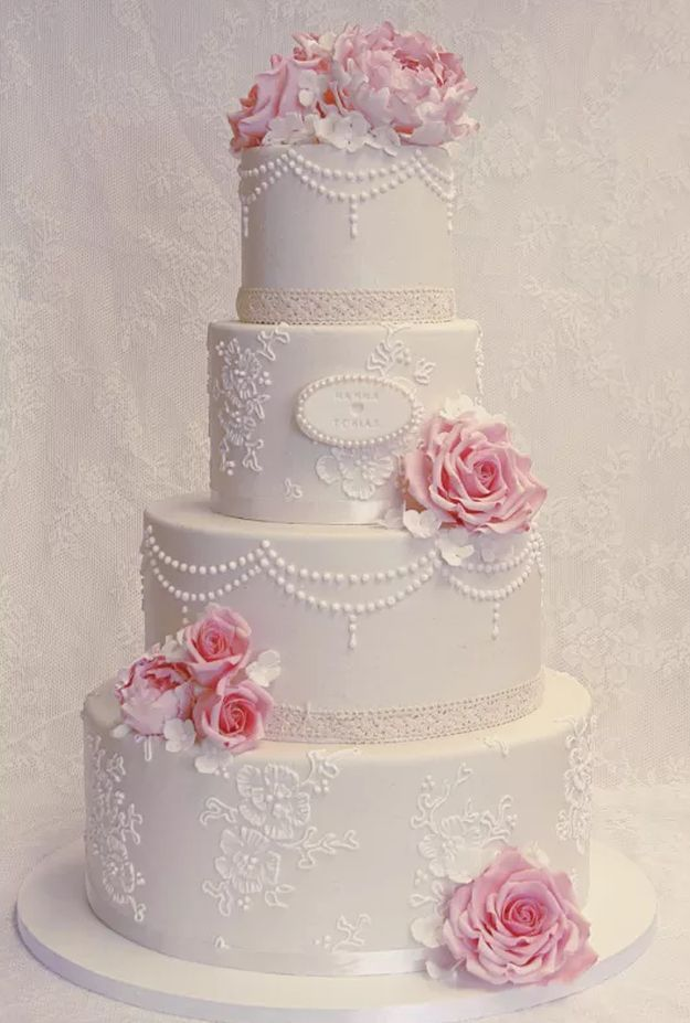 Lace and Pearl Wedding Cake | 15 Stunning Wedding Cakes For A Unique Wedding | Make Your Wedding Extra Special with these Beautiful, Elegant and Creative Cake Ideas | http://homemaderecipes.com/15-stunning-wedding-cakes/