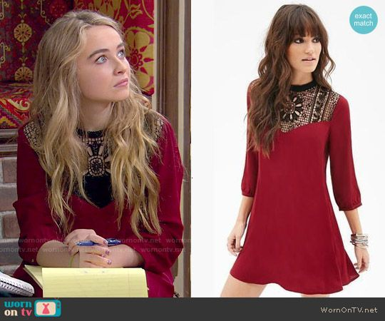 Maya's red crochet panel dress on Girl Meets World.  Outfit Details: http://wornontv.net/50380/ #GirlMeetsWorld