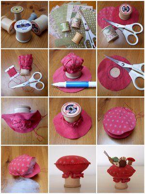 ARTE COM QUIANE - Paps,Moldes,E.V.A,Feltro,Costuras,Fofuchas 3D: Aprenda fazer: Alfineteira Cogumelo feito com carretel de linha