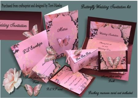 This is a beautiful set of wedding stationary, consisting of the invitation, RSVP card, the name place card, a menu cover, even a bon bon box for maybe chocolates on the table, or cake for after the wedding. and last of all the matching envelope, but the invitation will fit into any DL envelope.  There are also lots of butterflies to decorate how ever you want.