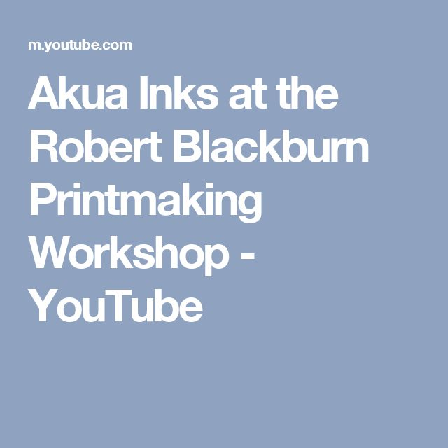 Akua Inks at the Robert Blackburn Printmaking Workshop - YouTube