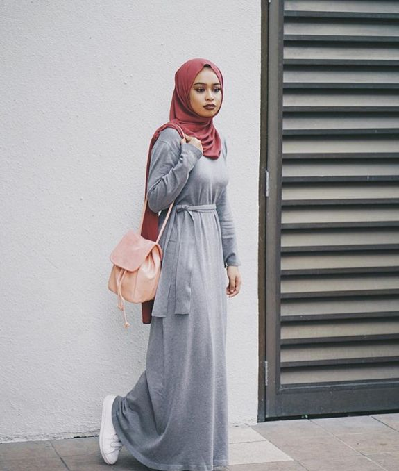 Pinterest: @eighthhorcruxx. Grey jersey belted abaya and hijab.