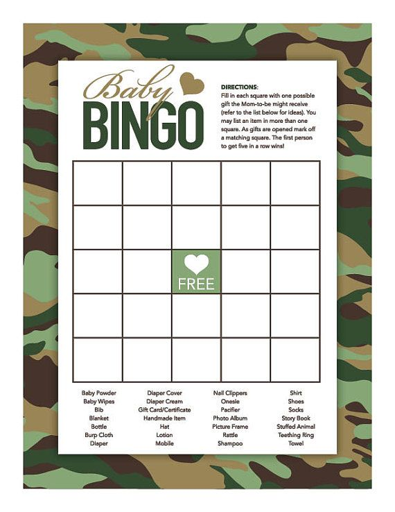 Instant Download Green Camo Baby Shower Games by Studio20Designs