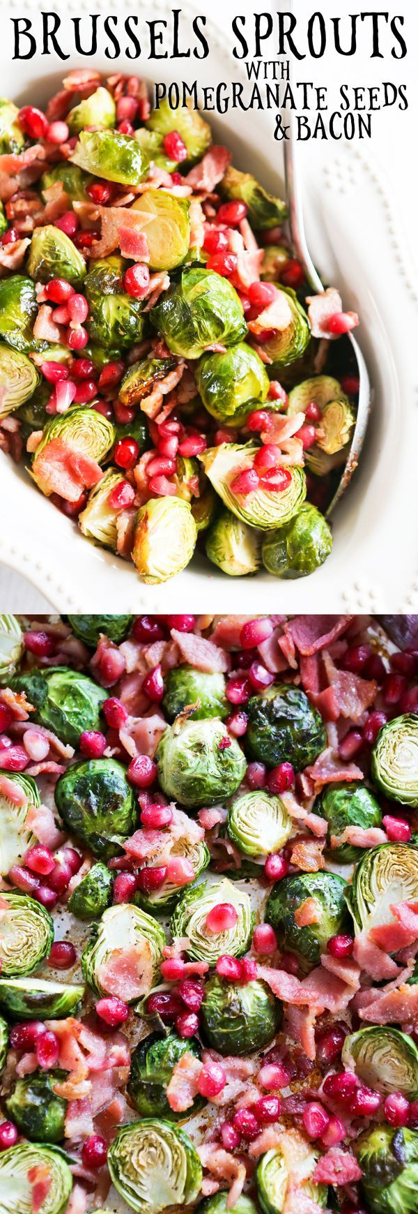 Brussels Sprouts with Pomegranate Seeds and Bacon | This delicious and simple little dish can be a salad, side, party food or snack! SO GOOD!