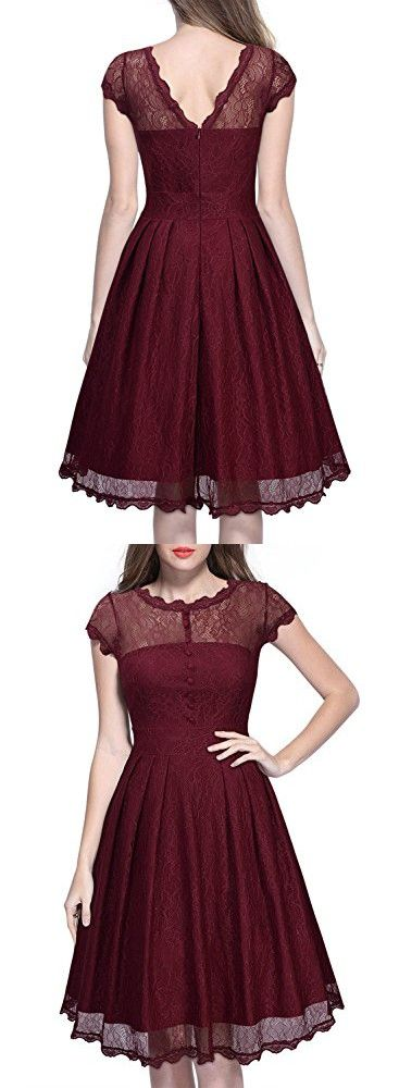 Miusol Women's Retro Floral Lace Cap Sleeve Vintage Swing Bridesmaid Dress (X-Large, Wine Red)