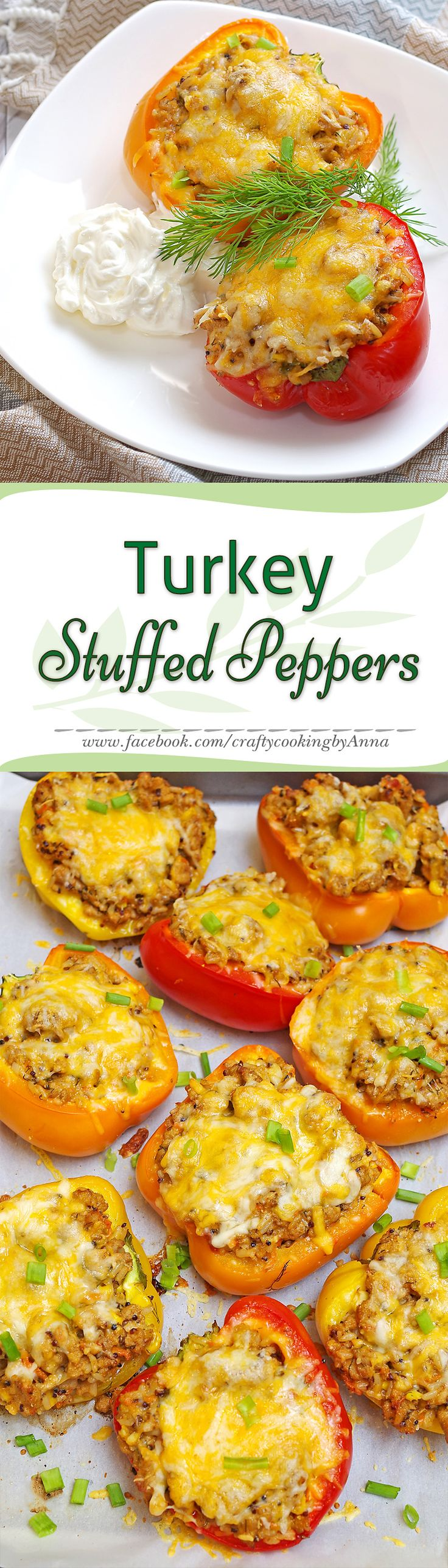 Delicious Turkey Stuffed Peppers! #Easy #Delicious #Everyday #Beautiful #Homecooking #Recipes #Dinner #Breakfast #Lunch #Kids #Foddie #Food #Fresh #Foodfollol #Low-Carb #Low-Cal #Yum #yummy #foodlover #tasty #foodheaven #Hungry #FollowMe #CraftyCookingByAnna If you like my recipes, please Follow Me - http://www.pinterest.com/annavil/ and https://instagram.com/craftycookingbyanna/ and Join Me -https://www.facebook.com/craftycookingbyAnna Thank you!