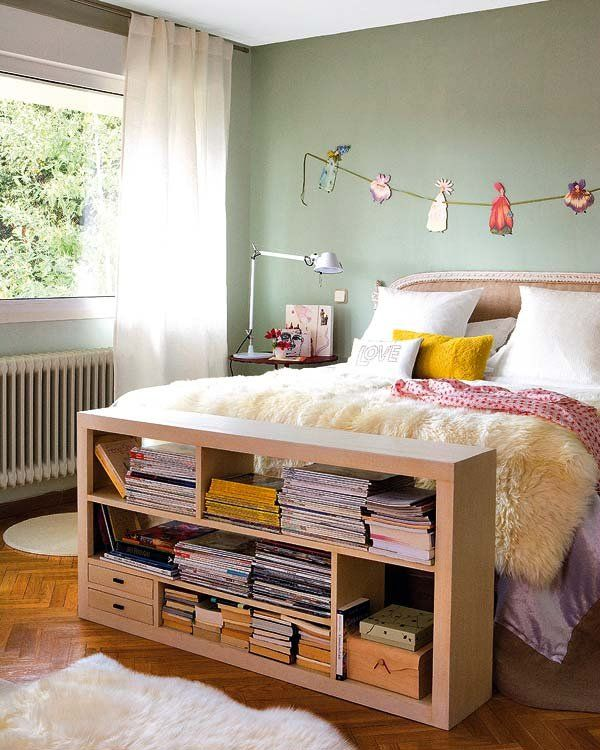 Pequeña biblioteca en el dormitorio - Ideas para guardar en el ...