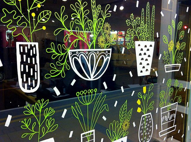 sarah abbott; window drawings; liquid chalk inspiration