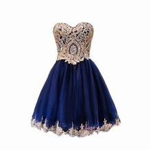 Vestido de Novia sweet heart Navy Blue prom dresses with Gold Embroidery 2017 christmas dress ball gown party dress sexy Vestido(China)