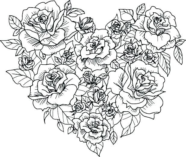 Printable Rose Coloring Pages For Everyone Heart Coloring Pages
