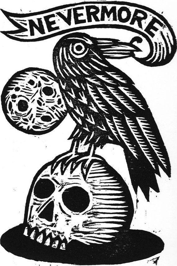 The Raven Artwork Print – Edgar Allan Poe Linocut – Goth Artwork – Library Decor – House Decor – Literary Artwork – Prints – Cranium Artwork – Raven Artwork Prints