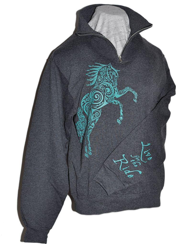 Paisley Pony 1/4 Zip Cadet Collar Horse Sweatshirt