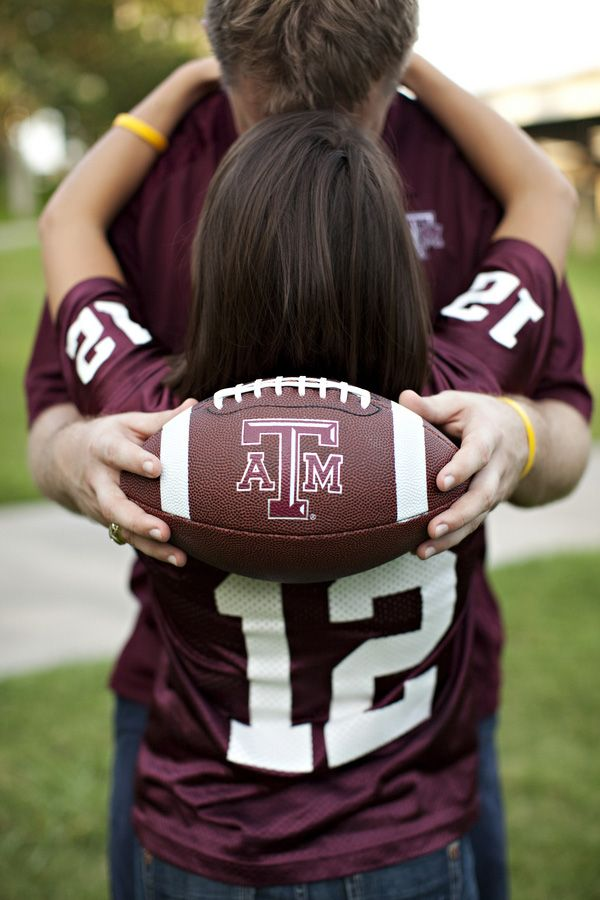Love this...this would be so cute with his alma mater high school jerseys if he was a football player and you're high school sweethearts!