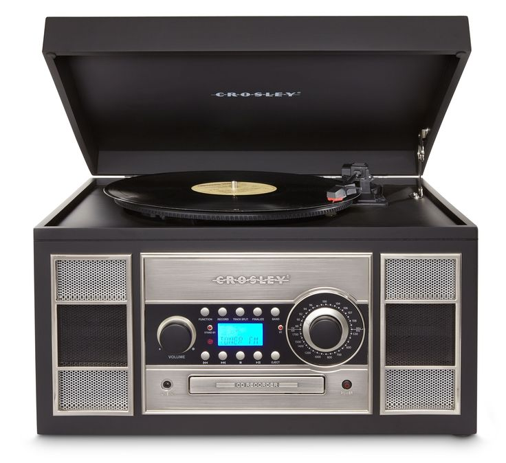 Crosley Memory Master II Turntable With CD Player/Recorder (Black)