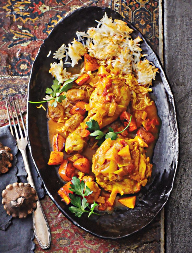 Rezept Zohre Shahi Persische Hähnchenschenkel mit Kürbis-Mirabellen-Sauce Kochbuch Jaan Die Seele der persischen Küche 2017 Gräfe & Unzer Huhn Kurkuma Zimt