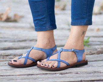 Cuero turquesa sandalias sandalias asimétricas verano