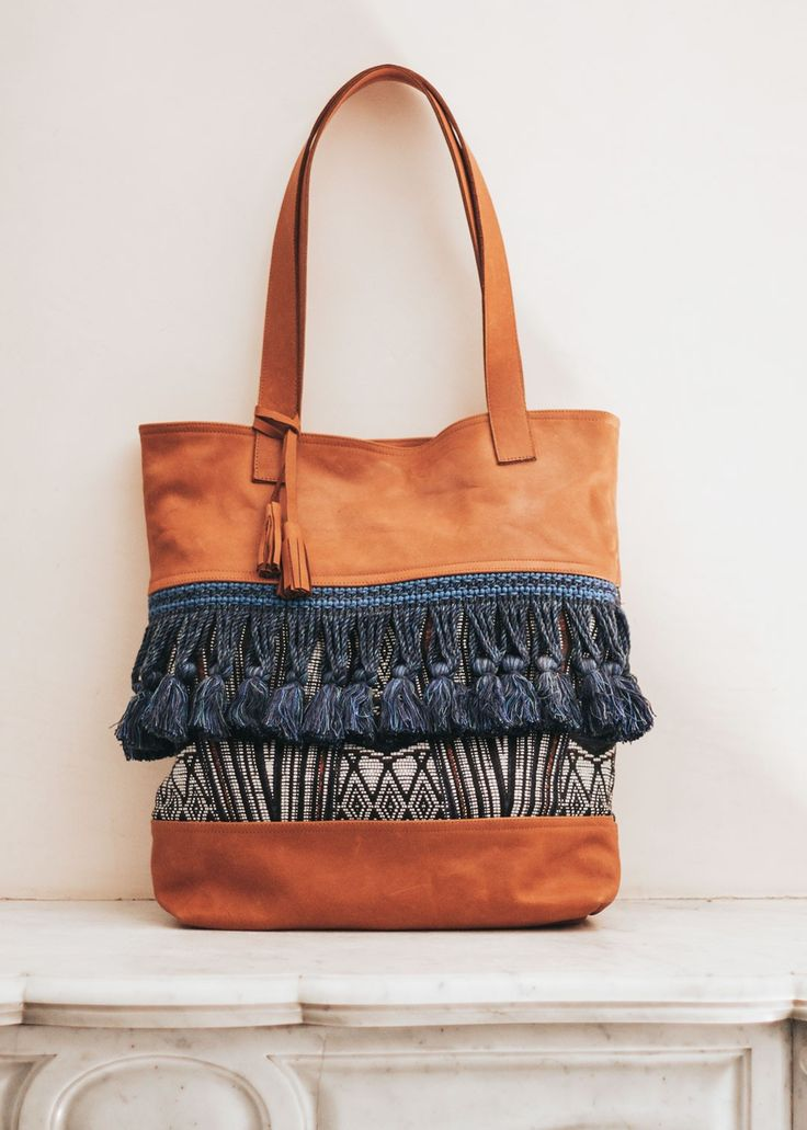 Boho handmade leather bag with tassels- Arcadia Collection //
