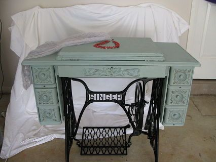singer treadle sewing machine cabinet gets a makeover in duck egg blue, chalk paint, painted furniture, repurposing upcycling, Dressed for its photo debut Necklace scarf