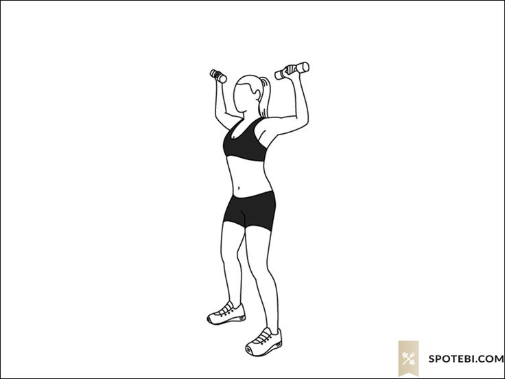 Elbow squeeze shoulder press exercise guide with instructions, demonstration, calories burned and muscles worked. Learn proper form, discover all health benefits and choose a workout. http://www.spotebi.com/exercise-guide/elbow-squeeze-shoulder-press/
