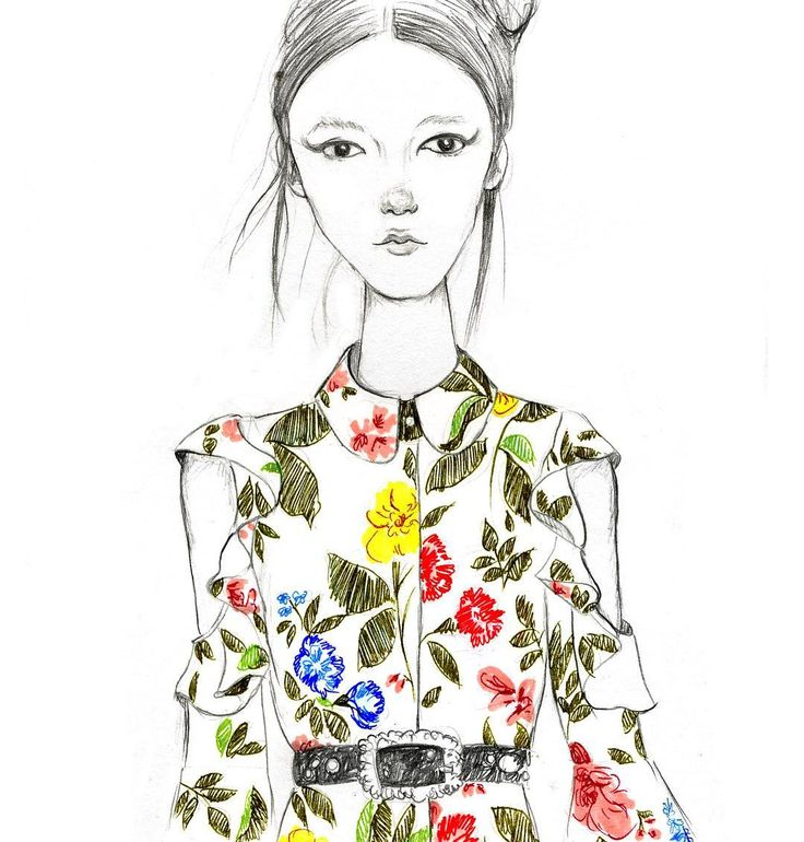 @vivetta Spring Summer 2017 #sketch #illustration #drawing #fashionillustration #practicing #flowers #catwalk #girlillustration