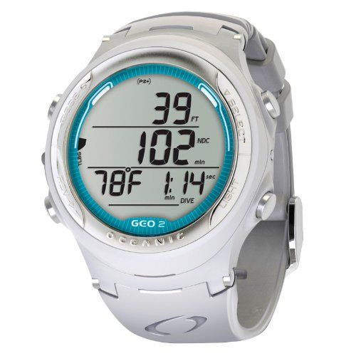 Oceanic Geo 2.0 Wrist Watch Computer - White/White/Sea Blue - http://uhr.haus/oceanic/white-white-sea-blue-oceanic-geo-2-0-tauchcomputer