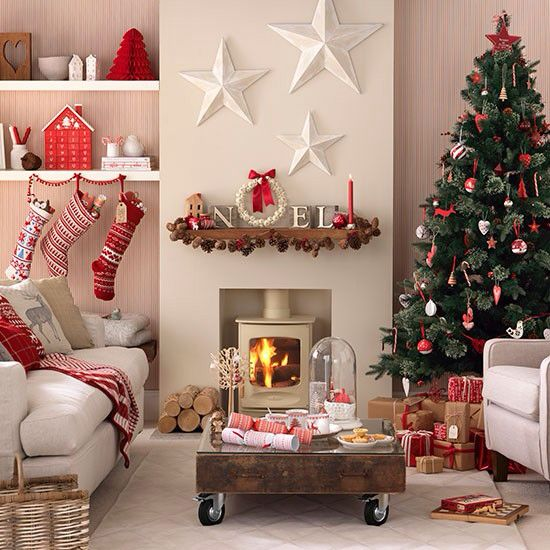 Scandi Style Red And White Christmas Living Room   Easyday