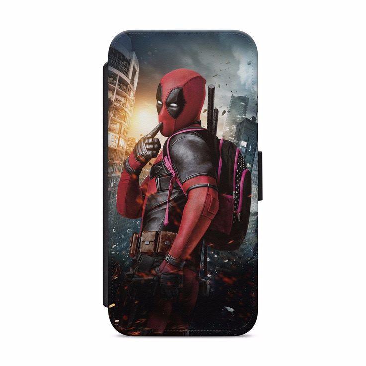 Deadpool marvel leather wallet flip phone case cover for
