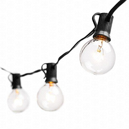 Globe String Lights with G40 Bulbs (25ft.) - Connectable Outdoor Garden Party Patio Bistro Market Cafe Hanging Umbrella Lamp Backyard Lights 100% Guarantee on Light String (Black)