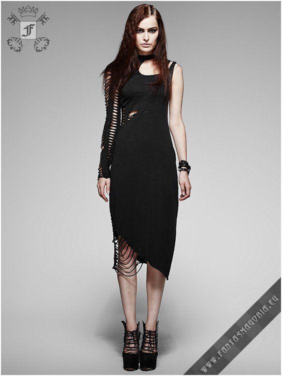 187417119fed Q-247 Delirium - Summer Gothic dress by Punk Rave Asymmetric design Post- Apocalyptic