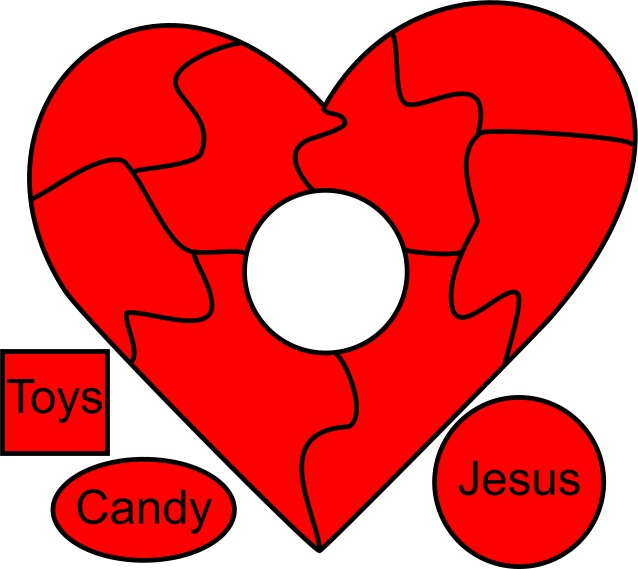 heart puzzle. valentine's day kids church craft... lesson idea - Jesus lives in your heart or fills your heart with love
