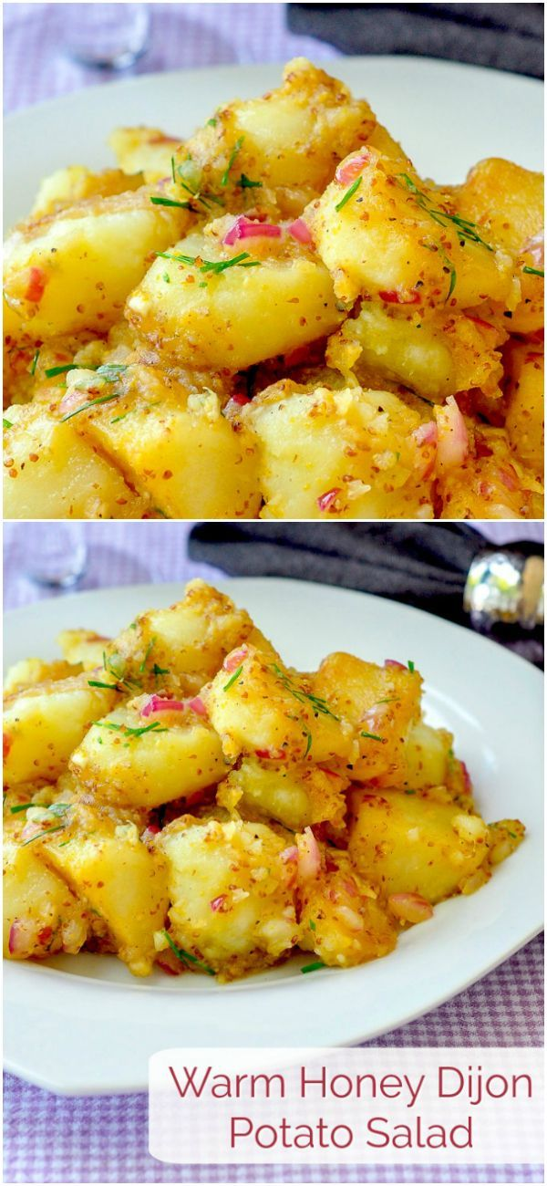 Warm Honey Dijon Potato Salad - a quick & easy side dish flavour boost that's perfect for summer Barbecue meals or even just a roast chicken dinner.