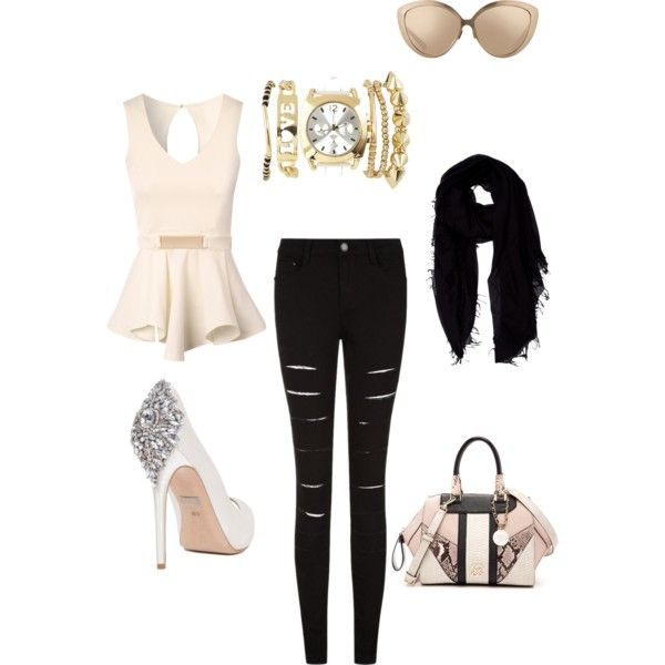 A fashion look from March 2015 featuring Jane Norman tops, Badgley Mischka pumps and GUESS handbags. Browse and shop related looks.