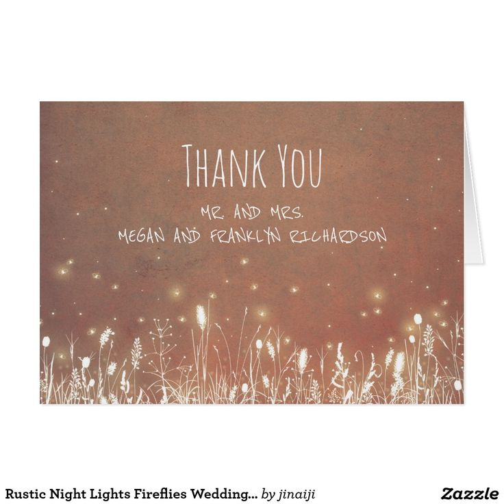 Rustic Night Lights Fireflies Wedding Thank You Card Night lights field - meadow wedding thank you cards