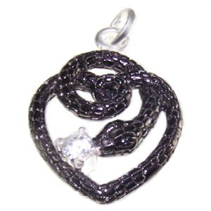 Serpent heart, ruthenium plating with a white topaz solitaire.