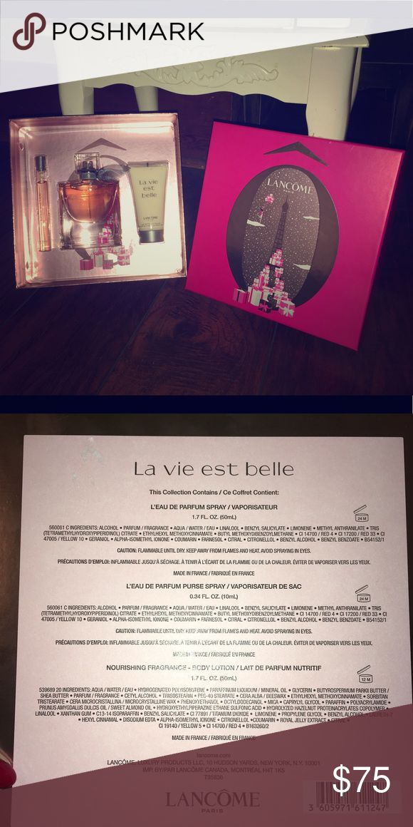 Lancome La Vie EST Belle perfume gift set holiday Lancome La Vie EST Belle perfume gift set holiday 2017. Never used. Retail value $120.50 Suggested retail price $92.00 Lancome Other